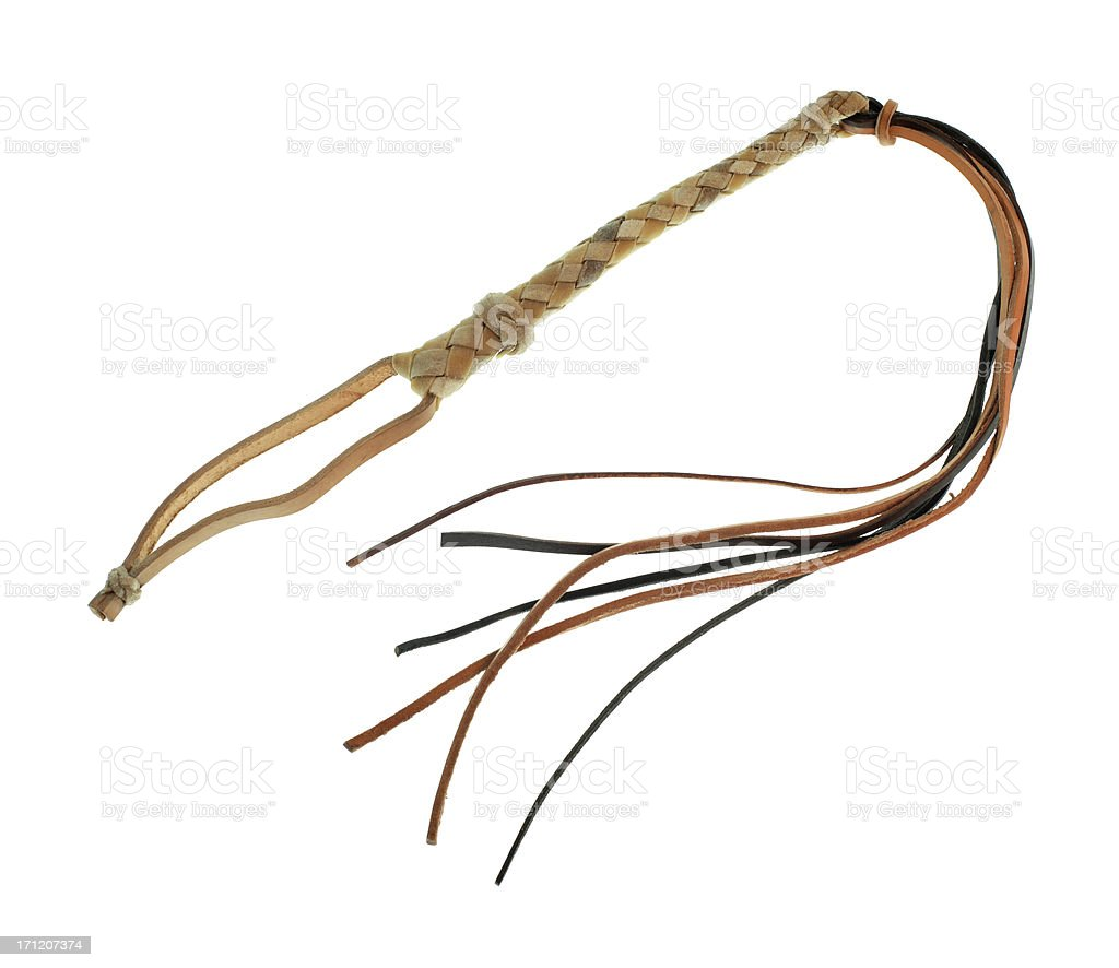 Rawhide cat o' nine tails stock photo