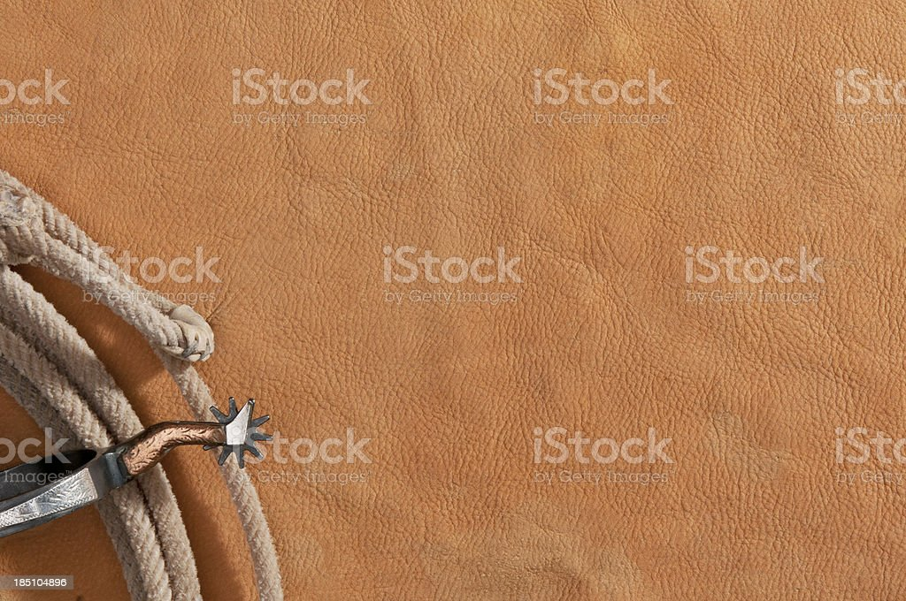 Rawhide with lasso rope stock photo