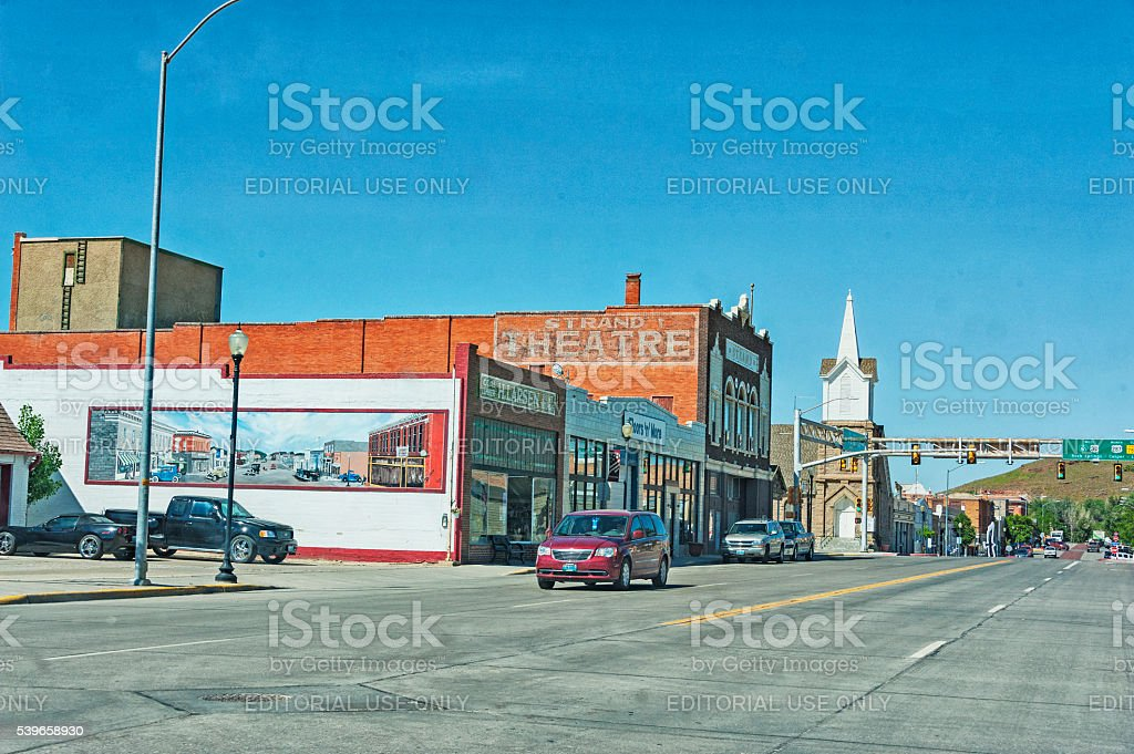 Rawlins Wyoming views traffic and Historic buildings with Wall Art stock photo