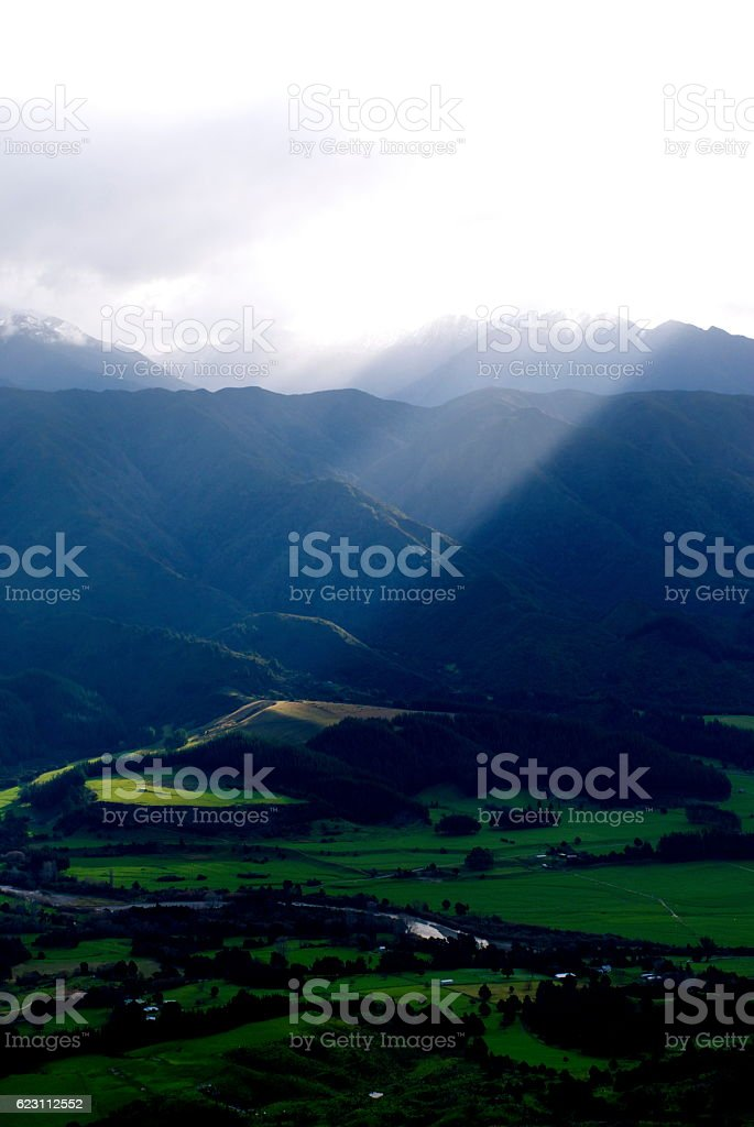 Ray of Light in a Mountainous Rural New Zealand stock photo