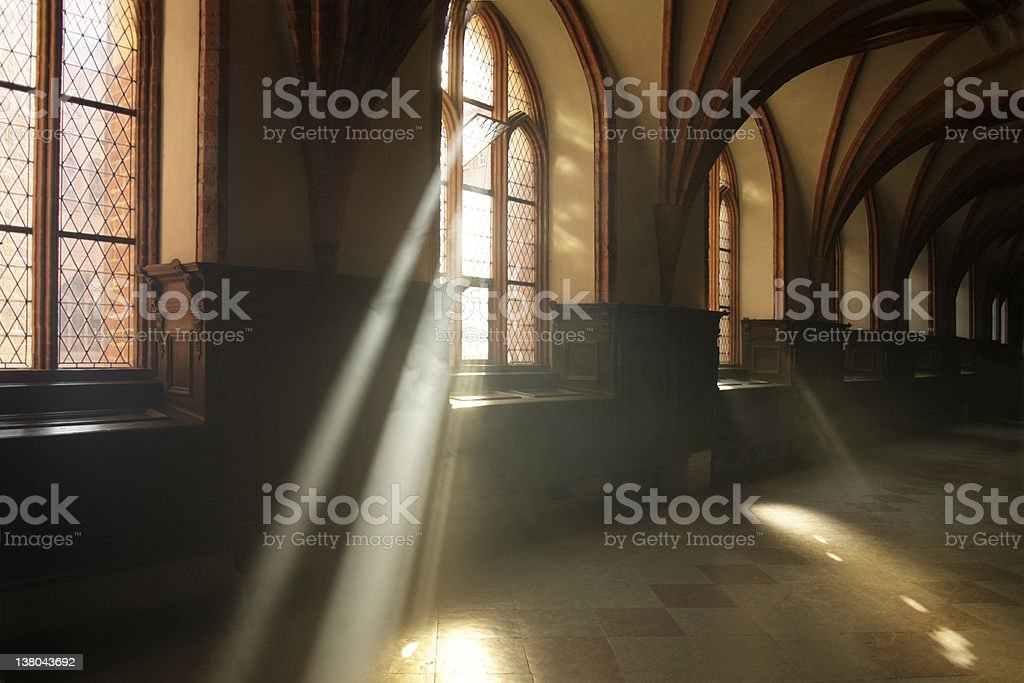 Ray of light in abbey corridor stock photo