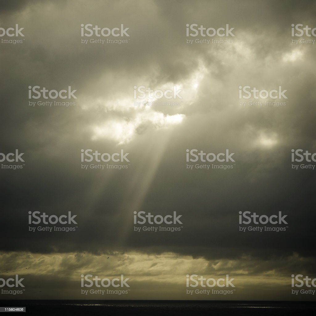 Ray of light over ocean royalty-free stock photo