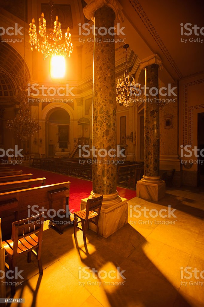 Ray of Light shining into Church royalty-free stock photo