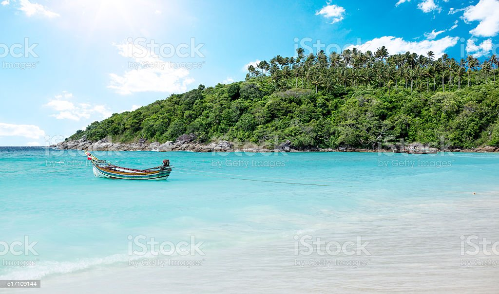 Raya Island beach near Phuket Island, Thailand stock photo