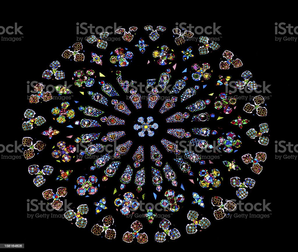 Rayonnant Rose Stained Glass Window St Maria del Pi Barcelona stock photo