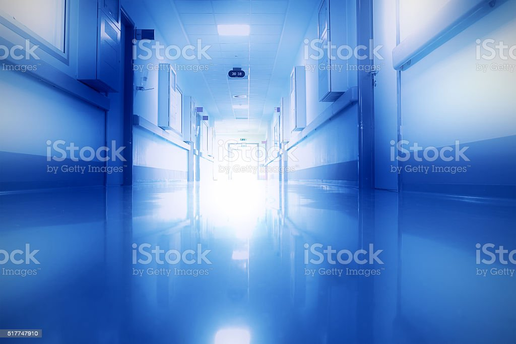 Rays Of Light In The Corridor Of The Hospital. stock photo