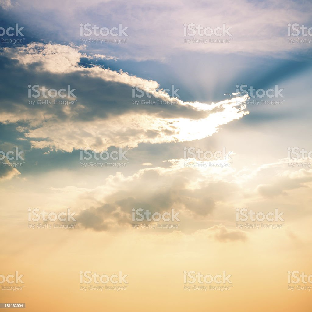 Rays of Sunshine in a Cloudy Sky stock photo