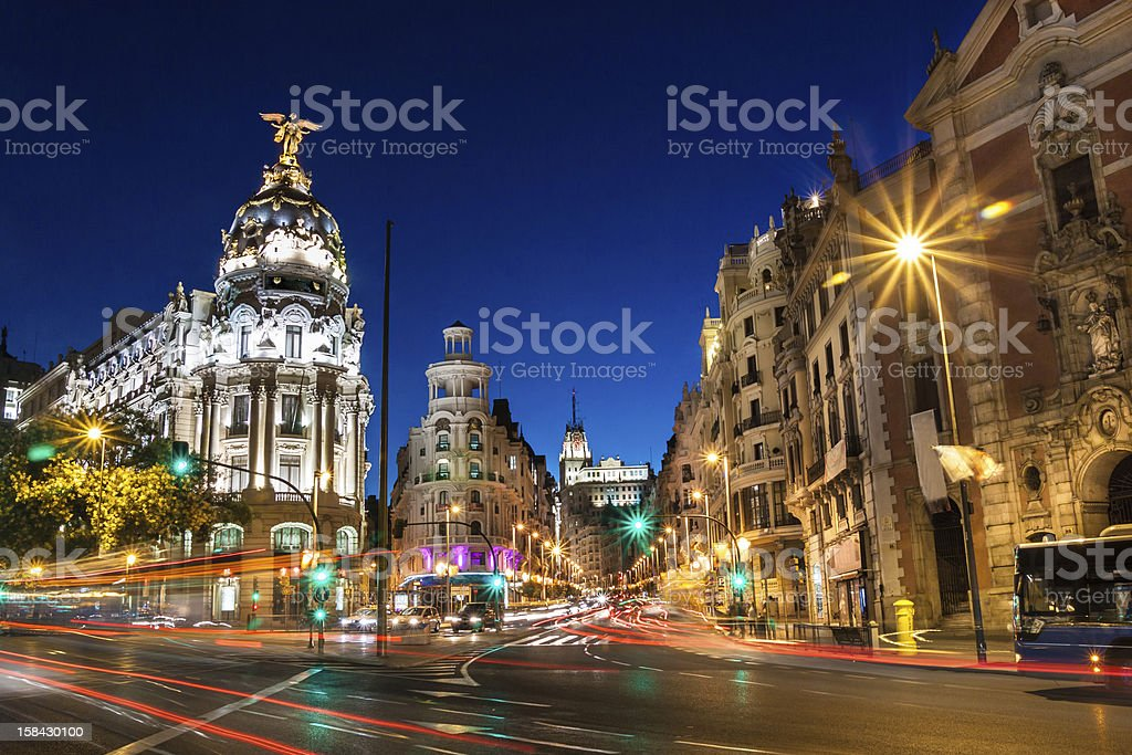 Rays of traffic light on Gran Via in Madrid, Spain stock photo