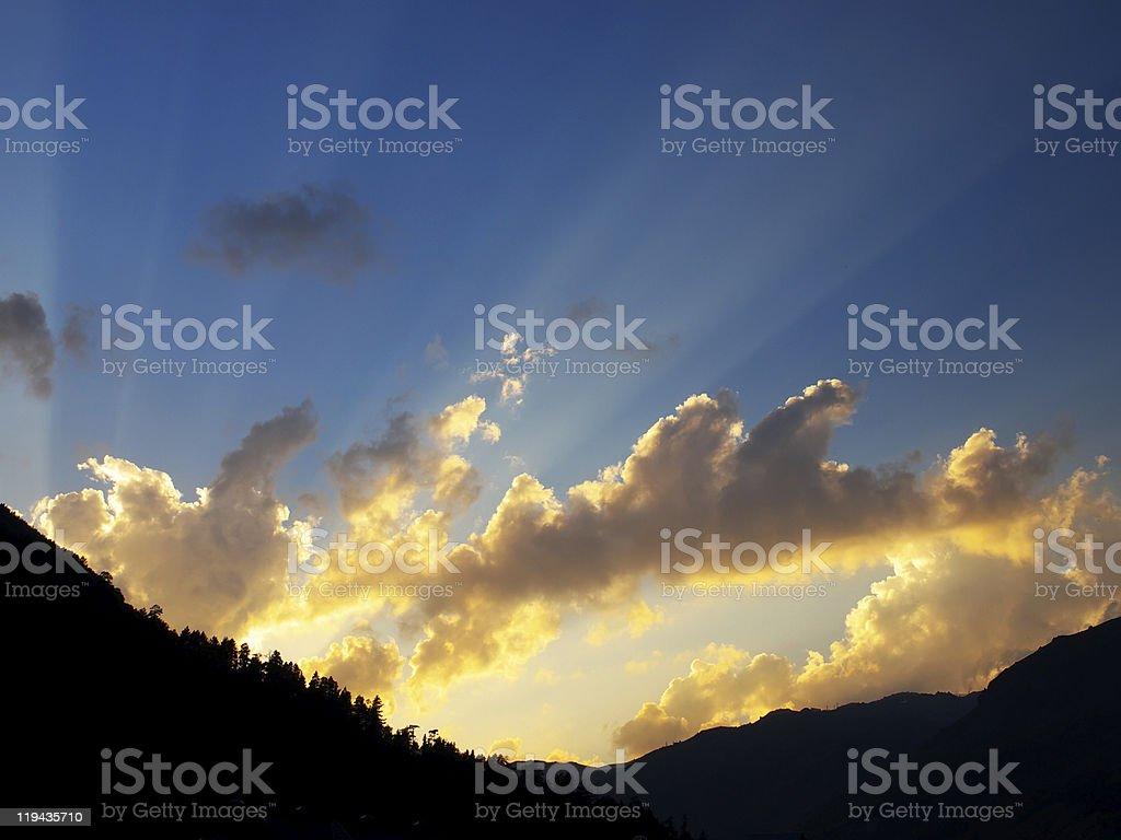 Rays on sundown stock photo
