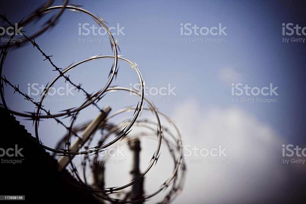 Razor and barbed wire royalty-free stock photo