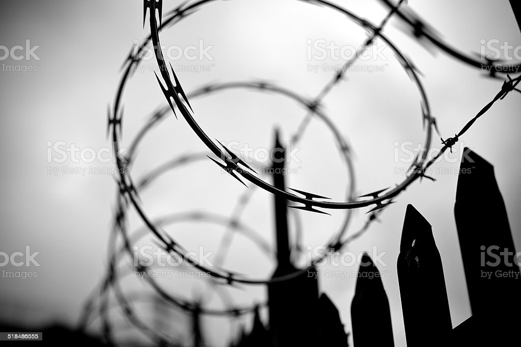 Razor & Barbed Wire Fence royalty-free stock photo