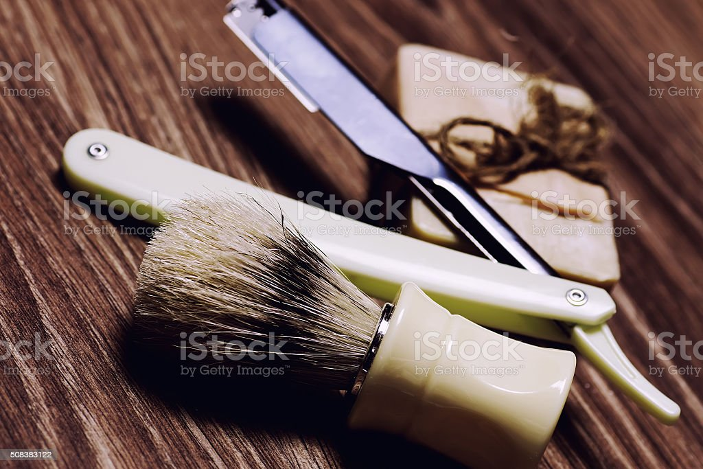razor sharp soap brush retro stock photo