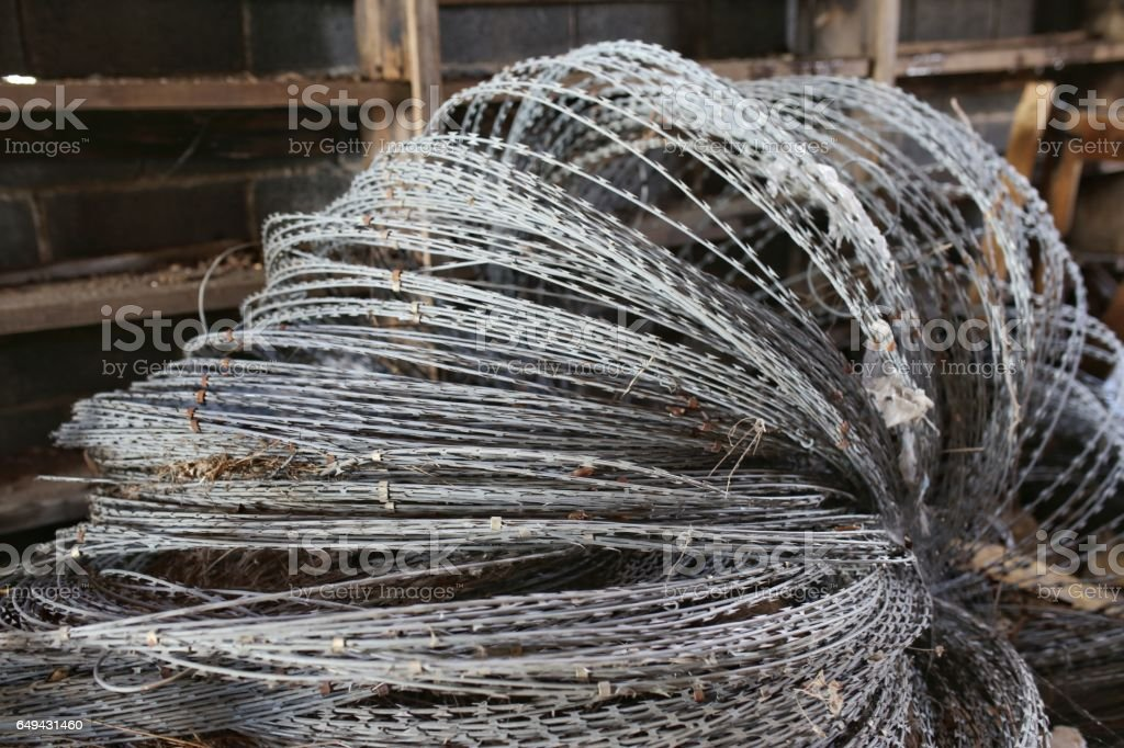 Razor Wire Barbed Ribbon Security Fencing stock photo