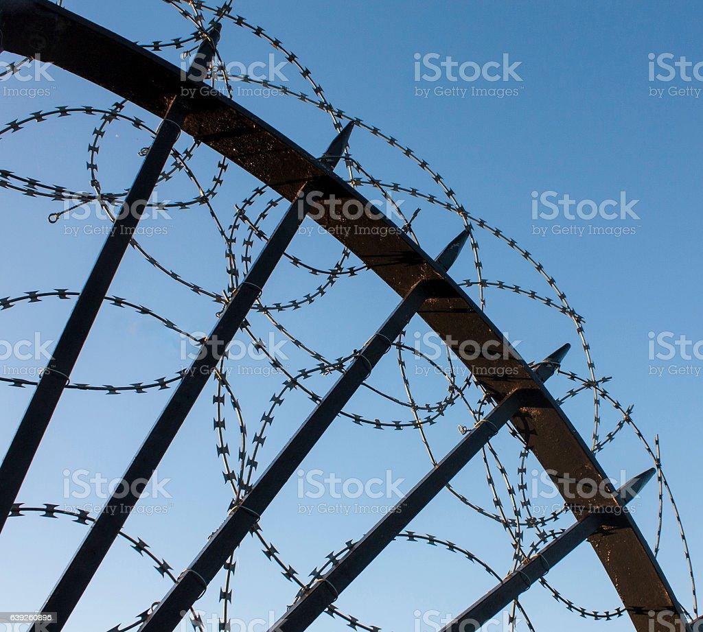 Razor wire deterrent stock photo