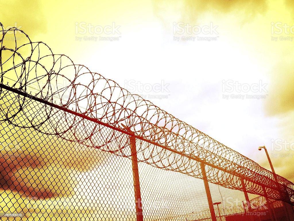 Razor wire on prison fence stock photo
