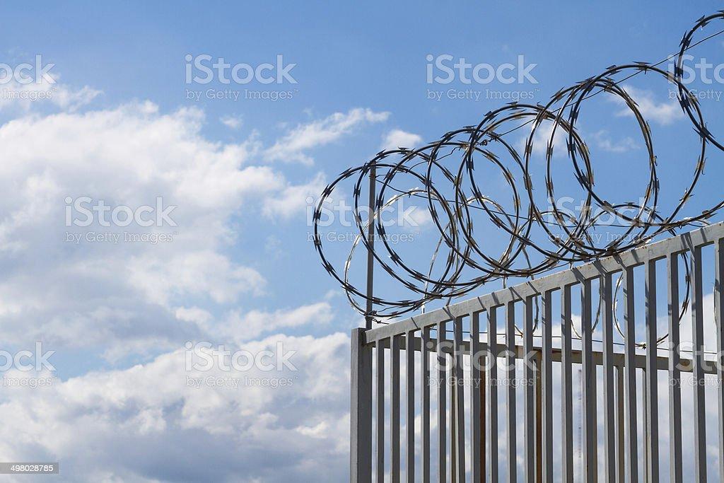 Razor wire over fence stock photo