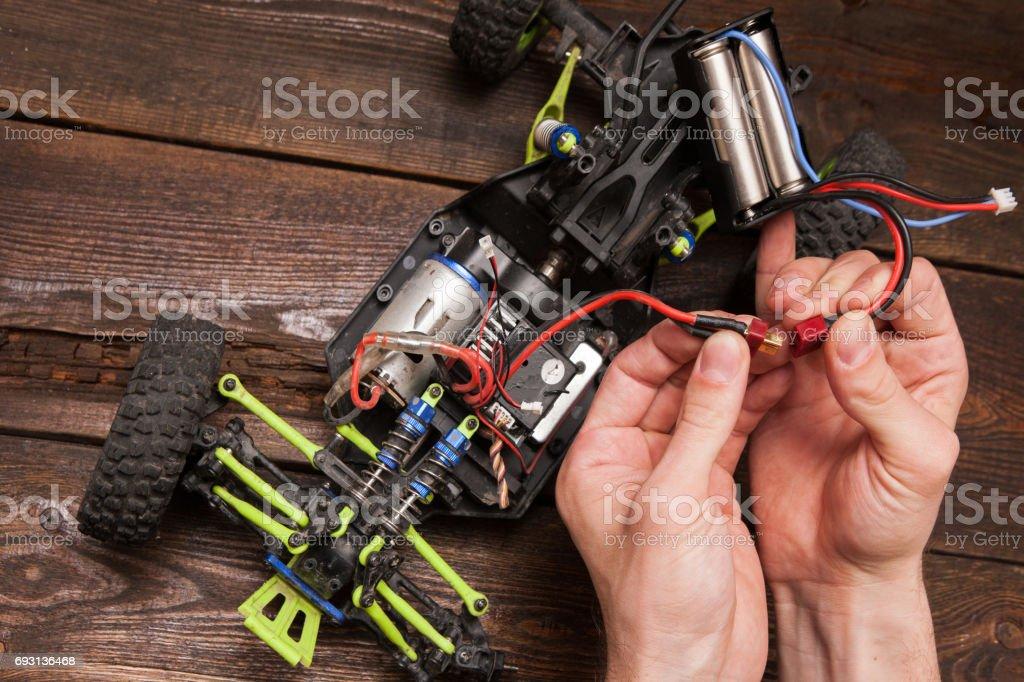 Rc car model toy electronics repair stock photo