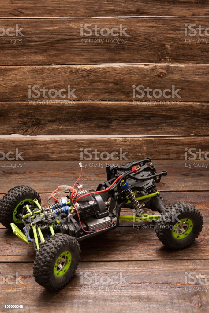 Rc car model toy on wooden background stock photo