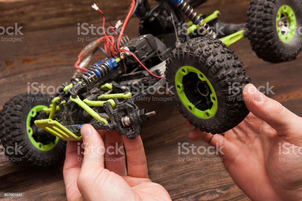 Rc car model toy repair stock photo