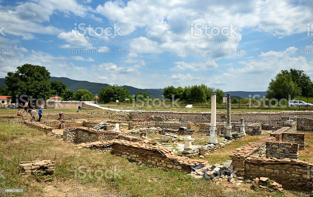 ?rcheological excavations in the ancient Roman town Nicopolis ad Nestum stock photo