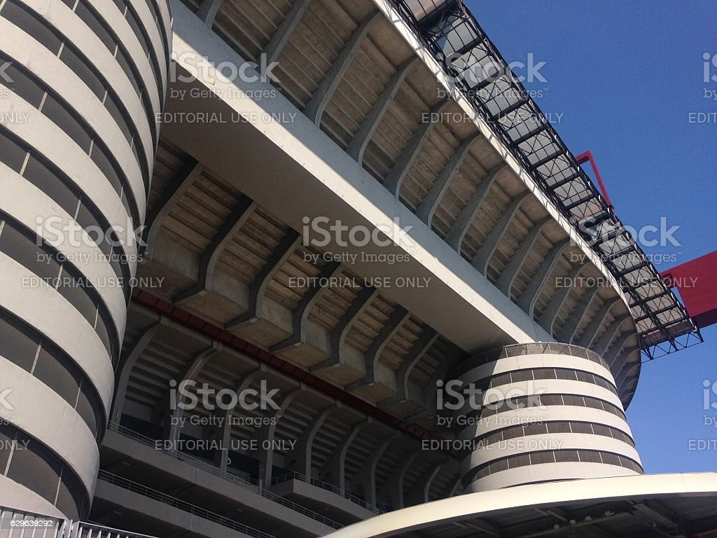 Аrchitectural elements of the San Siro stadium in Milan stock photo