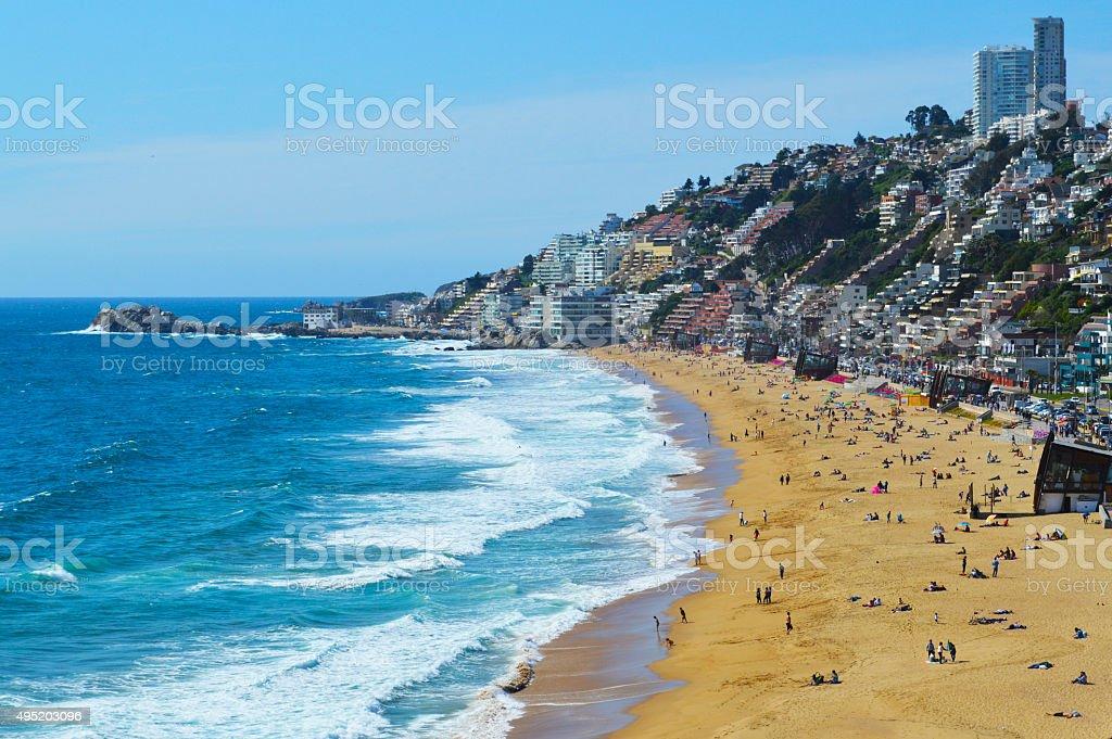 Reñaca Beach in Viña del Mar, Chile stock photo