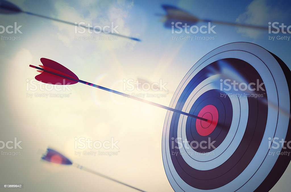 Reach a goal among many stock photo