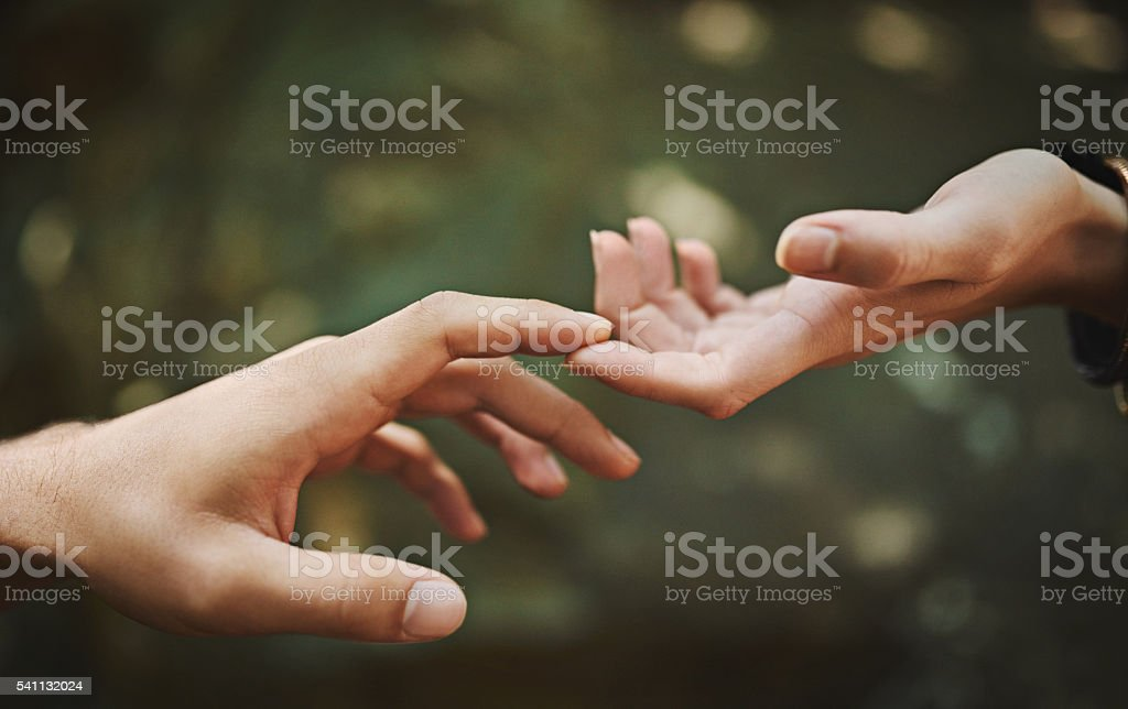 Reach out and touch someone stock photo