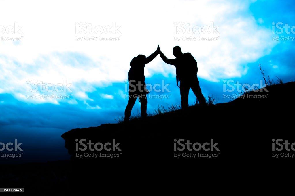 Reach the summit stock photo