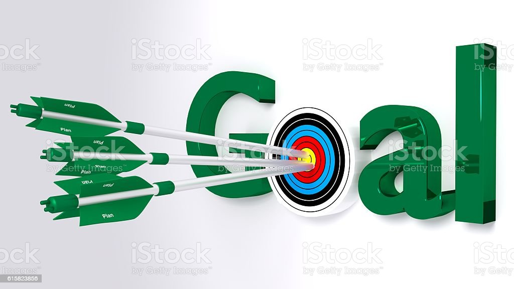 Reach your goal by making a plan concept stock photo