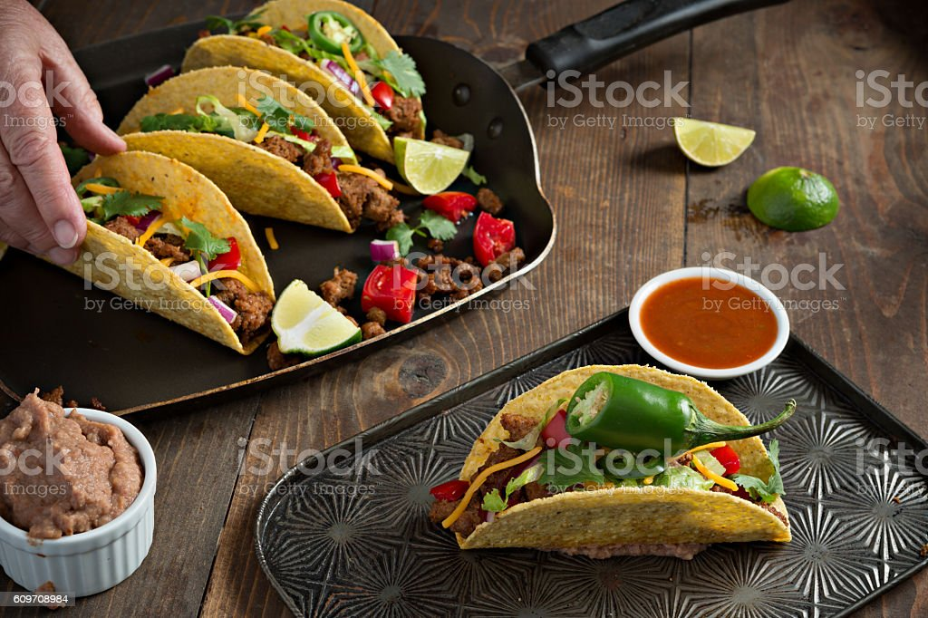 Reaching For A Taco stock photo
