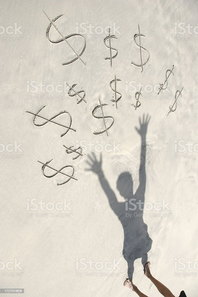 Reaching for Dollars royalty-free stock photo