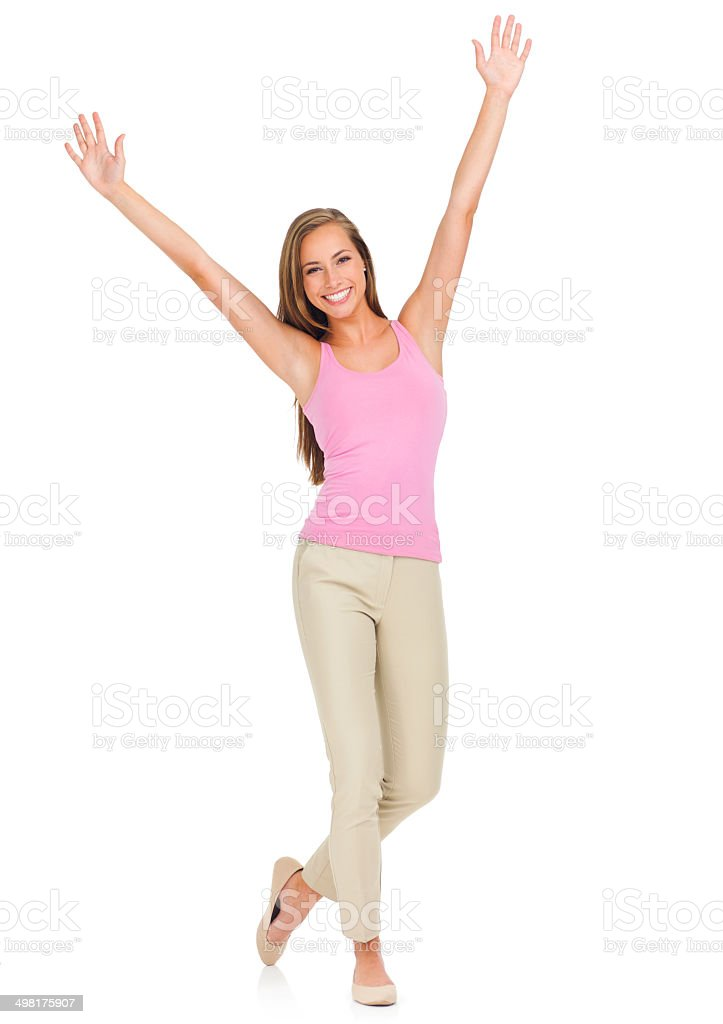 Reaching for her dreams! stock photo
