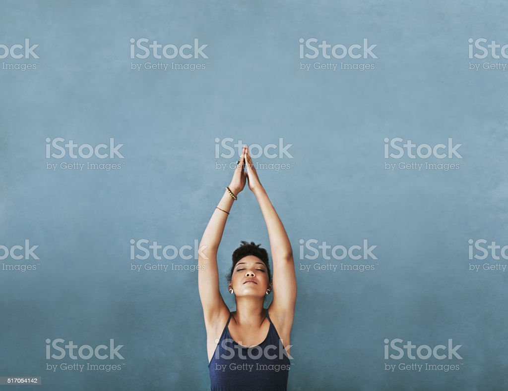 Reaching for her fitness goals stock photo