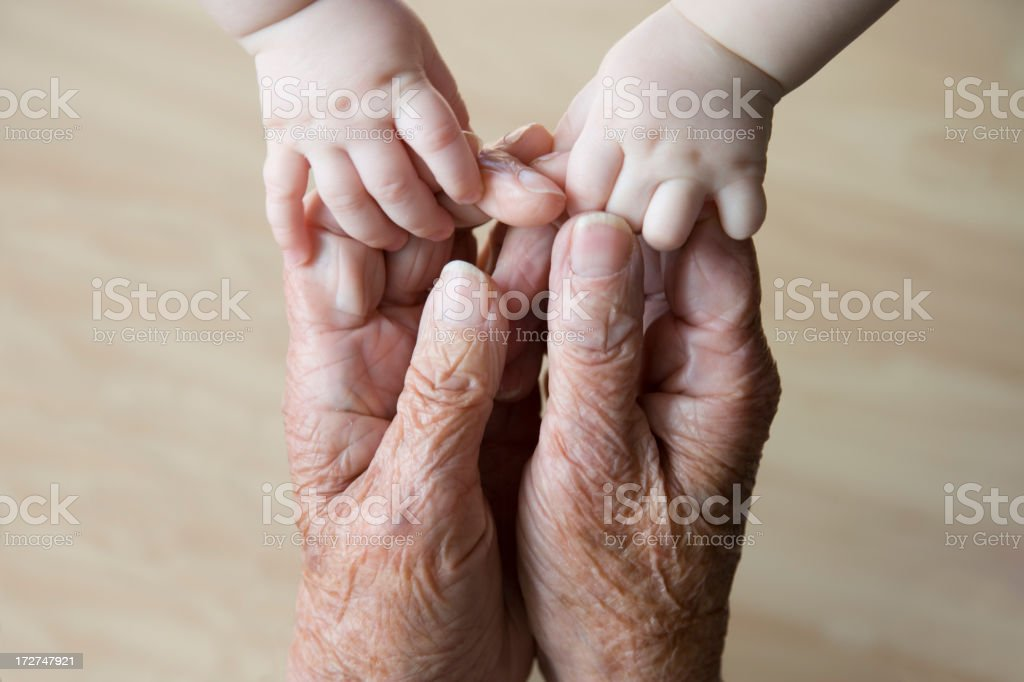 Reaching out across the years stock photo