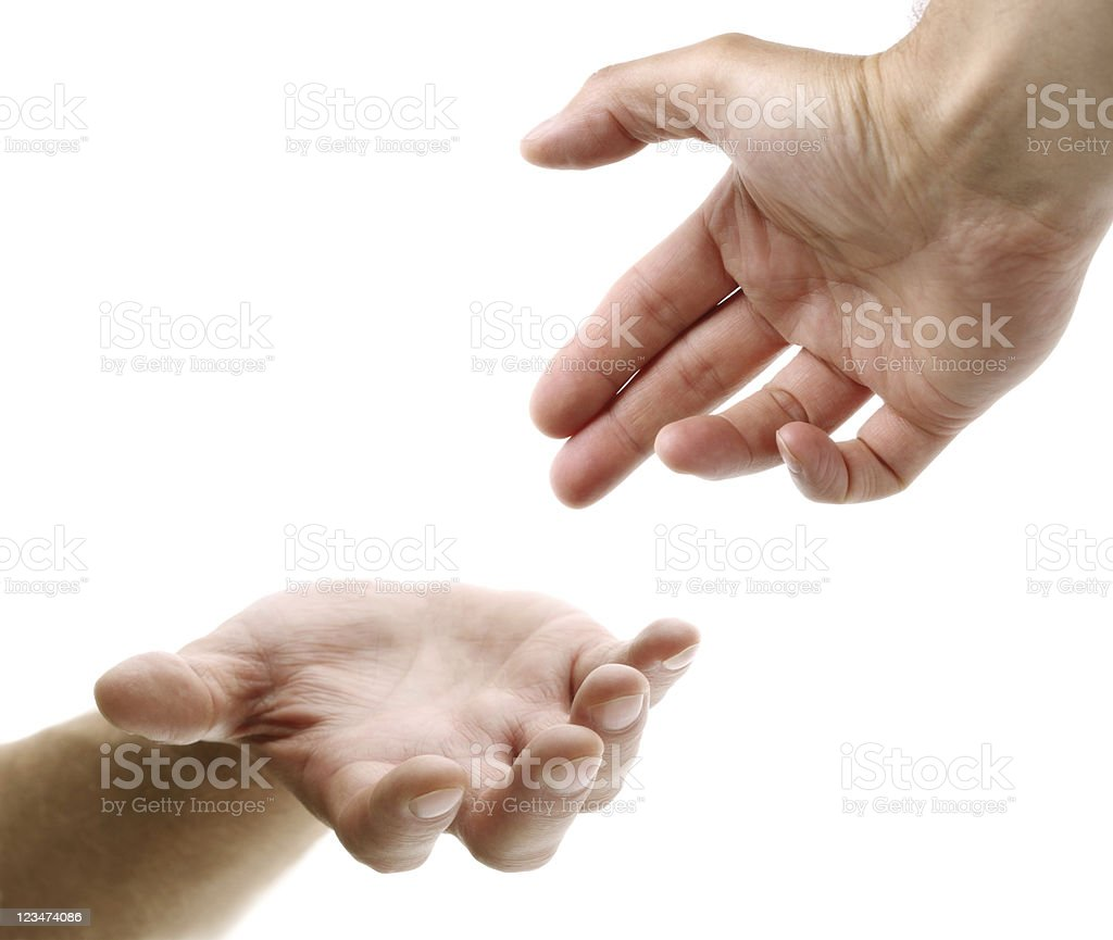 Reaching out for help stock photo