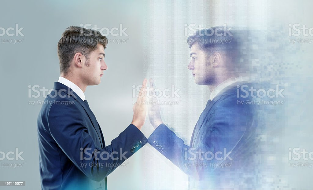 Reaching out to myself... stock photo