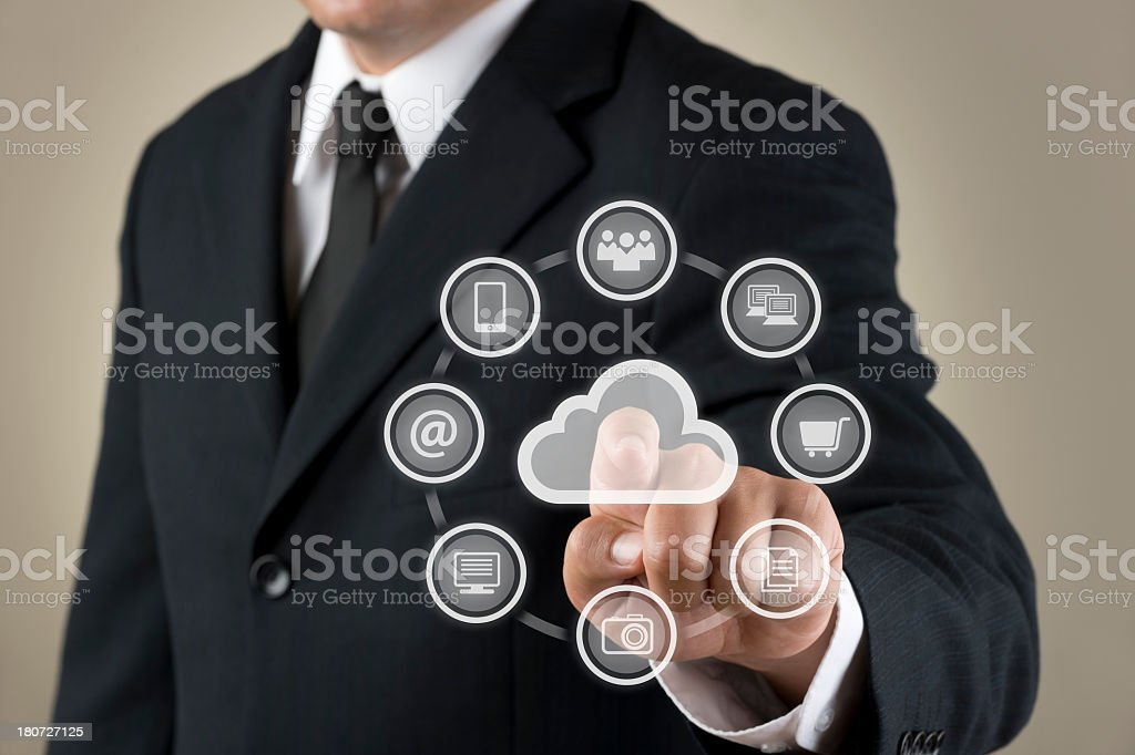 Reaching out to touch a futuristic touchscreen royalty-free stock photo