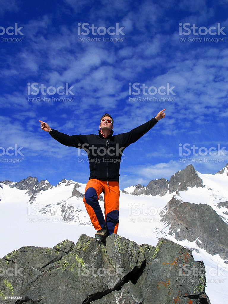 Reaching summit royalty-free stock photo