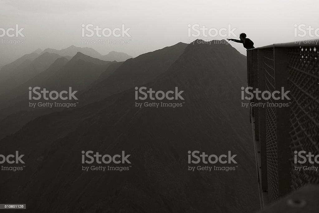 Reaching the mountains stock photo