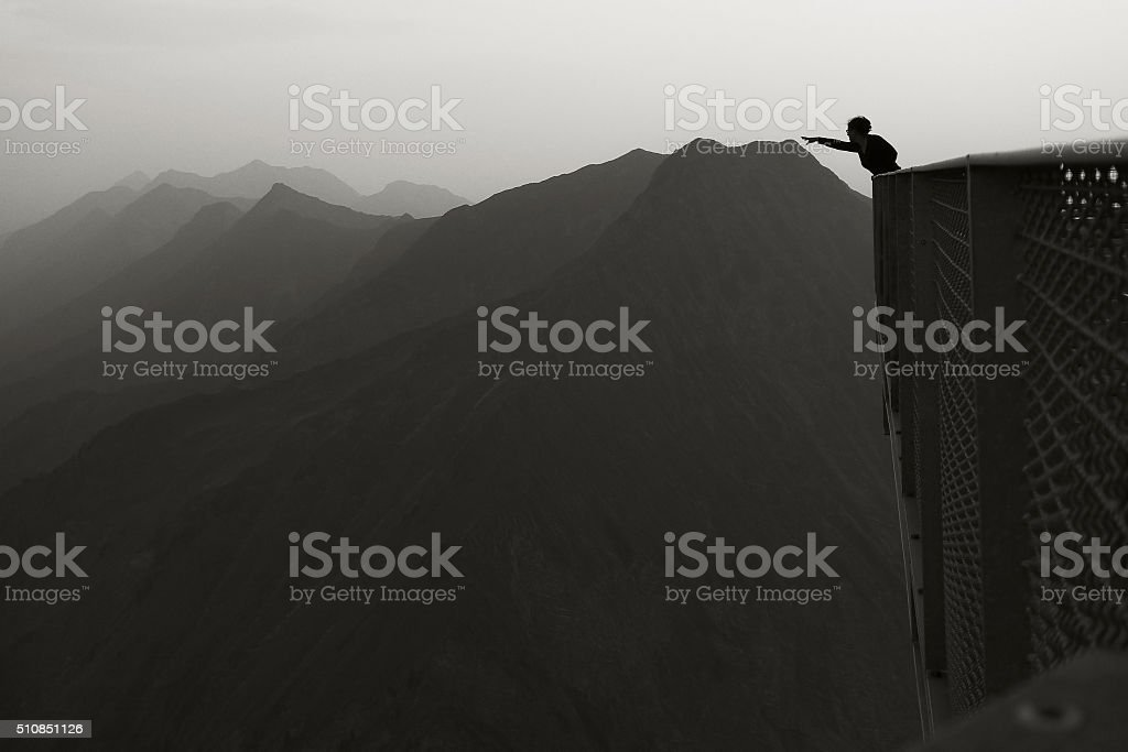Reaching the mountains stock photo