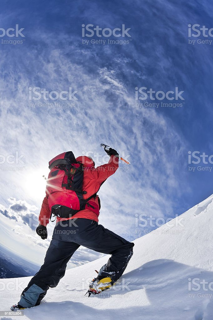Reaching the summit royalty-free stock photo