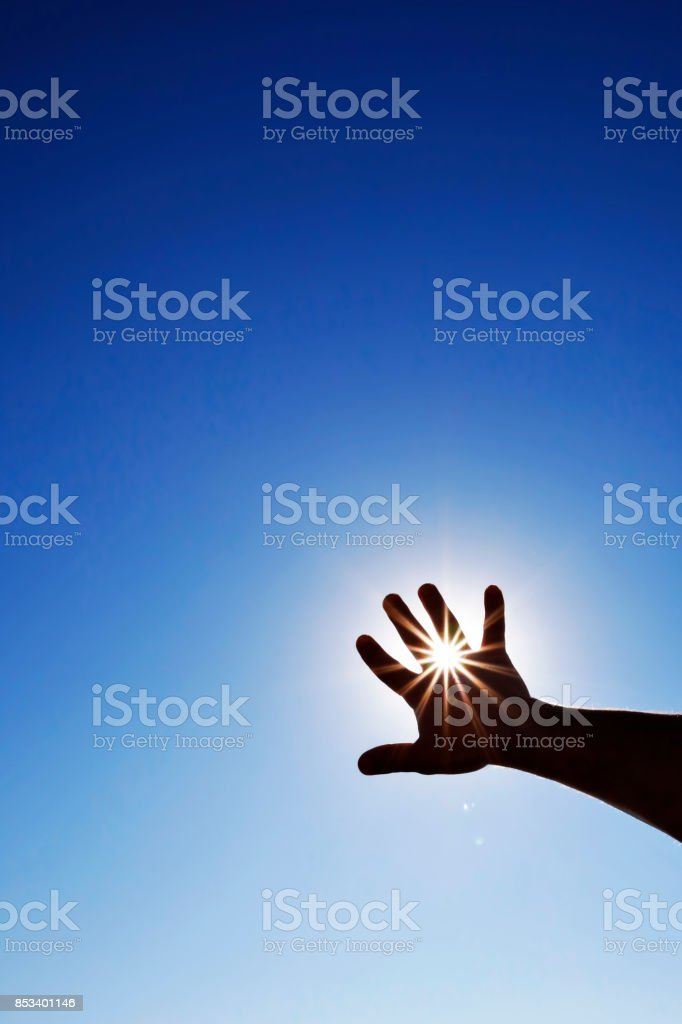 Reaching the sun (with copyspace) stock photo