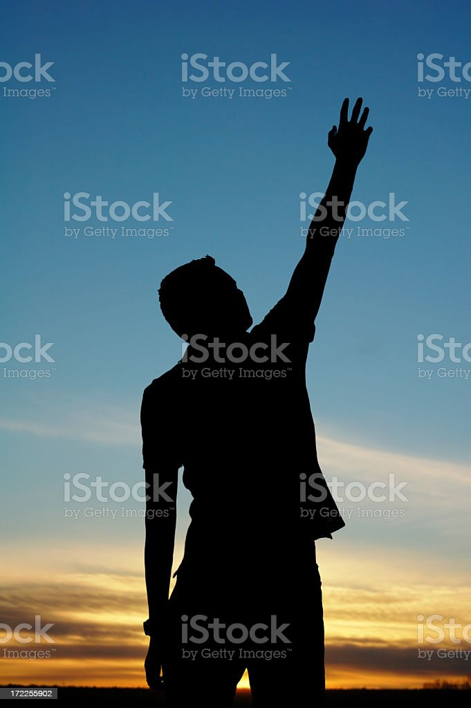 Reaching up royalty-free stock photo