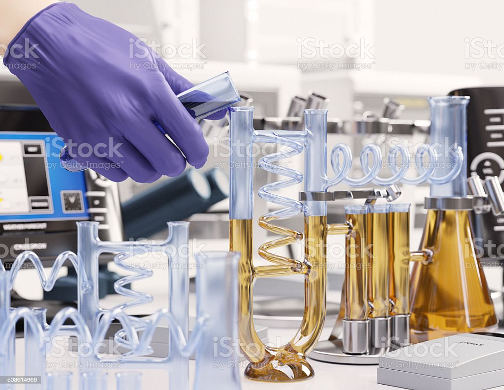 reaction testing in chemical laboratory science concept background stock photo