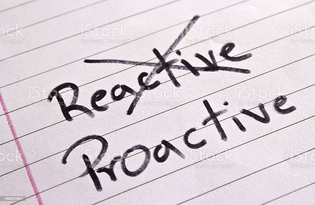 Reactive and Proactive concept stock photo