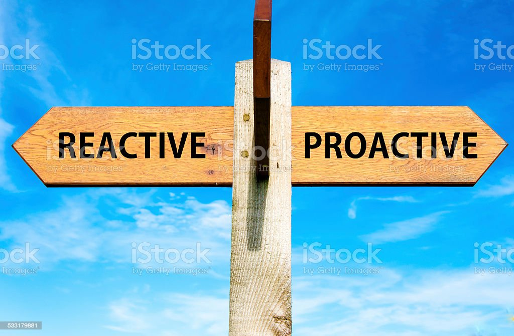 Reactive versus Proactive messages, Behaviour conceptual image stock photo
