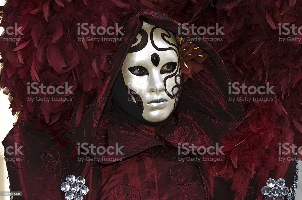 read and white mask stock photo