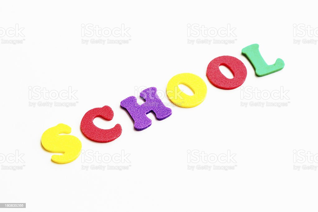 SCHOOL read colorful play letters against white background royalty-free stock photo