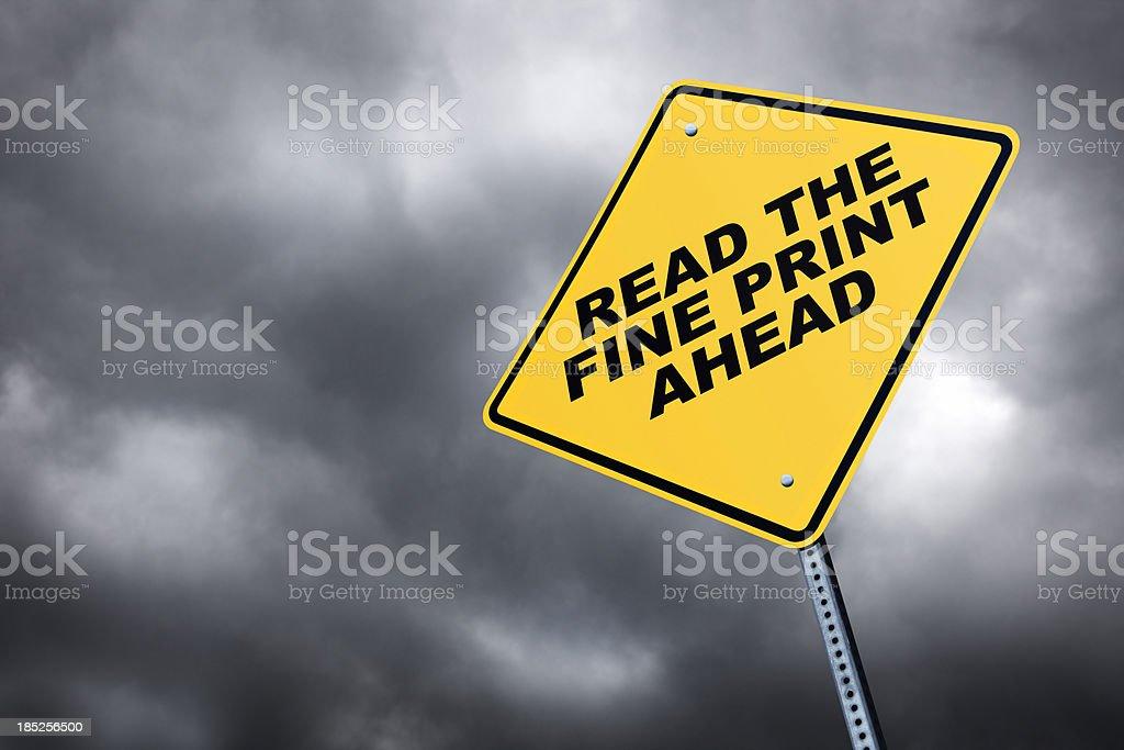 Read The Fine Print Ahead stock photo